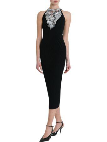 Balmain Long Embroidered Knit Dress