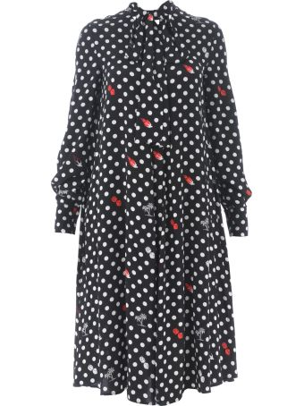 McQ Alexander McQueen Polka Dot Midi Dress