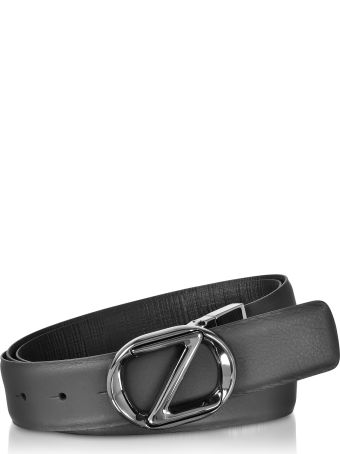 Ermenegildo Zegna Black Smooth/embossed Leather Adjustable And Reversible Men's Belt