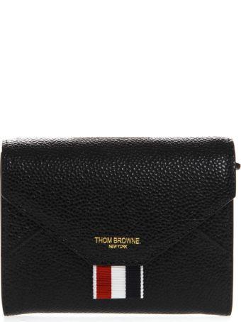 Thom Browne Black Leather Logo Wallet