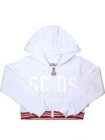 GCDS Mini White Short Sweatshirt