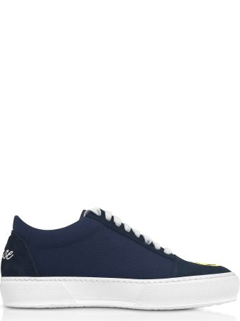 Joshua Sanders Blue Cotton And Leather Smile Embroidery Lace Up Sneakers