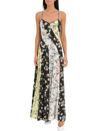 Off-White Floral Print Dress With Side Slit