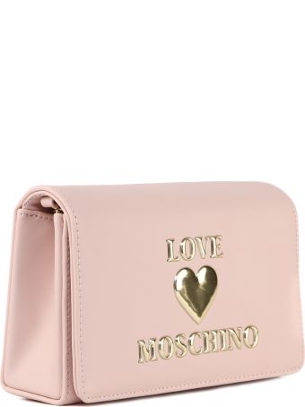 Love Moschino Pink Faux Leather Logo Bag