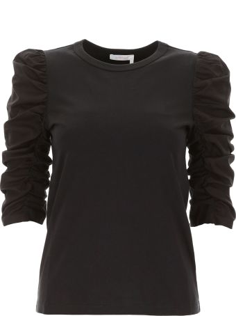 See by Chloé Cotton Poplin And Jersey T-shirt