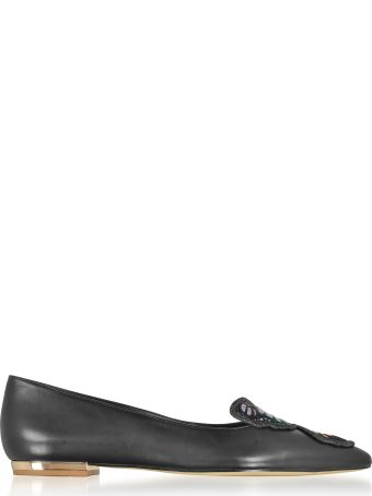 Sophia Webster Black Leather Bibi Butterfly Flat Ballerinas