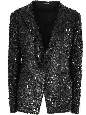 Tagliatore Black Sequinned Blazer.