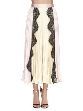 self-portrait Lace Trimmed Midi Skirt