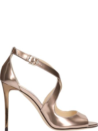 Jimmy Choo Emily Bronze Metallic Leather Sandals