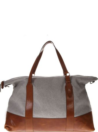 Eleventy Two Color Canvas & Leather Bag