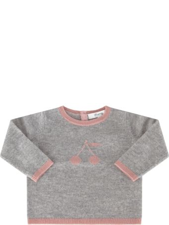 Bonpoint Grey Sweater For Babygirl With Cherries