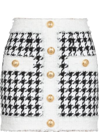 Balmain Houndstooth Skirt