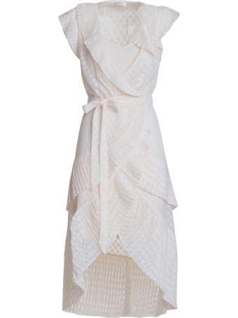 Zimmermann Plisse Wrap Dress In Blush
