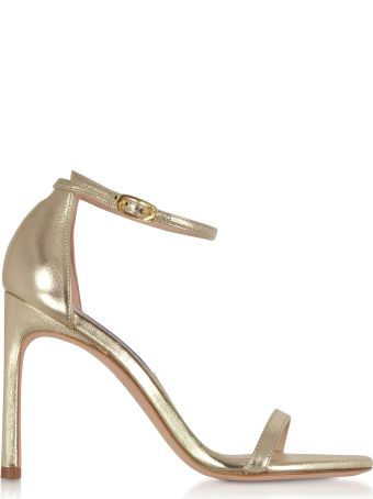 Stuart Weitzman Nudistsong Platino Nappa Leather High Heel Sandals