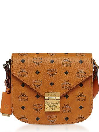 MCM Small Cognac Visetos Patricia Shoulder Bag