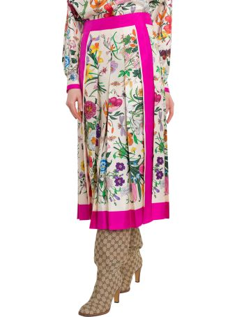 Gucci Silk Skirt With Flora Print