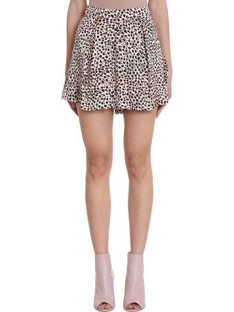 L'Autre Chose Leopard Logo Silk Shorts