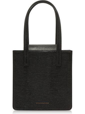 Marge Sherwood Black Lizard Embossed Leather Grandma Tote Bag