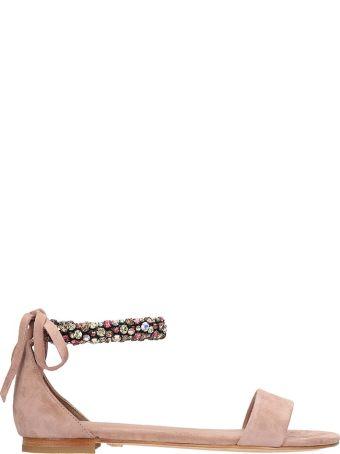 Lola Cruz Crystals And Stone Embellished Flats Sandals