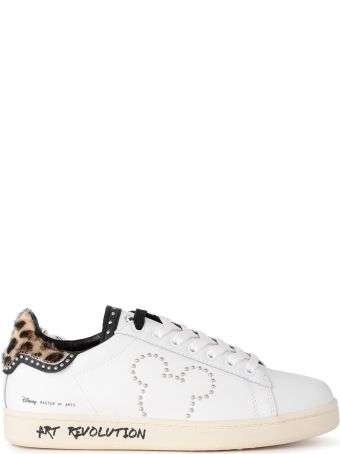 M.O.A. master of arts Moa White Leather Sneaker With Studs