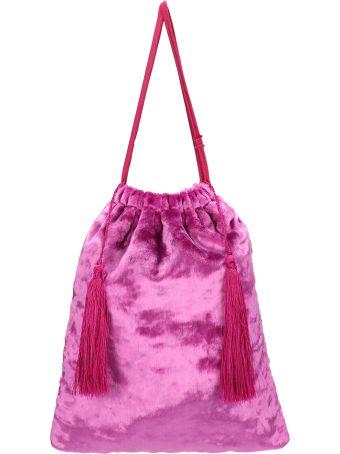 ATTICO Fuchsia Velvet Clutch Bag