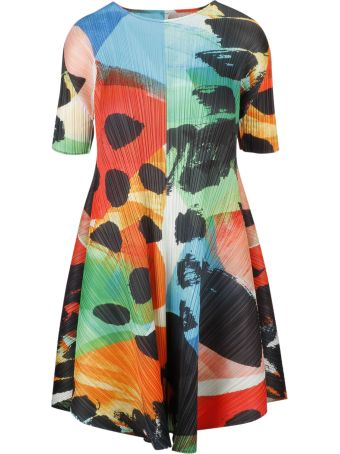 Pleats Please Issey Miyake Pleats Please By Issey Miyake Abstract Print Flared Dress