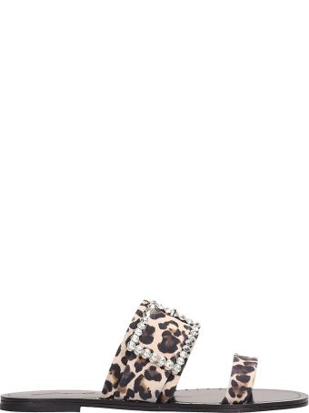 Lola Cruz Animalier Canvas Flats Sandals