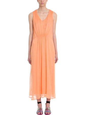 120% Lino Orange Draped Cotton And Linen Dress