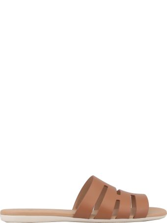 Hogan Open Worked Smooth Leather Sandal
