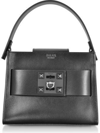 Salar Ludo Basic Black Leather Satchel Bag