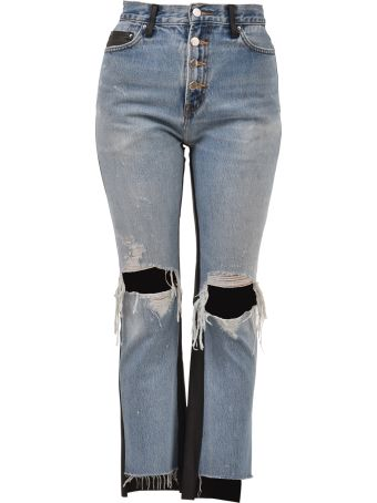 AMIRI Leather And Denim Jeans