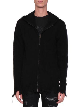 Overcome Wool Blend Distressed Full Zip Sweater