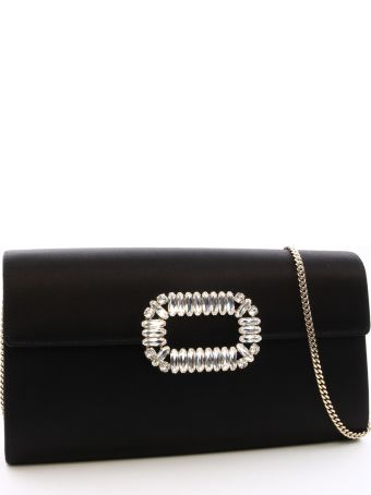 Roger Vivier Enveloppe Flap Clutch Black