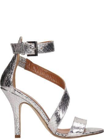 Paris Texas Silver Python Print Sandals