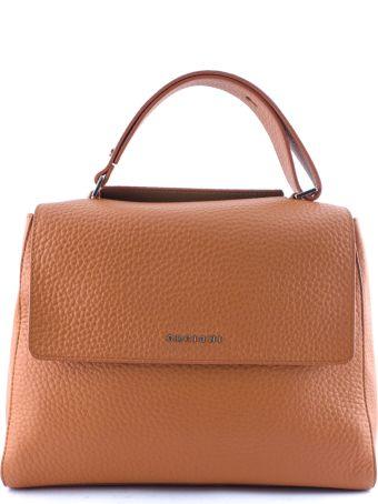Orciani Orange Leather Sveva Large Bag