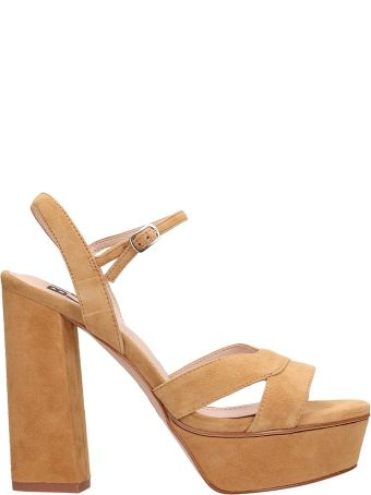 Bibi Lou Plateau Brown Suede Leather Sandals