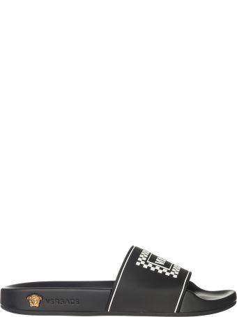 Versace  Rubber Slippers Sandals Logo 90s Vintage