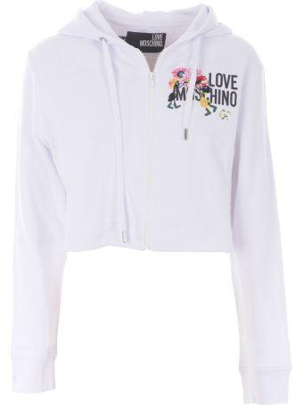 Love Moschino Logo Cropped Hoodie