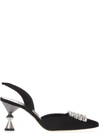 Manolo Blahnik Black Satin Pumps With Crystals & Sculptural Heel
