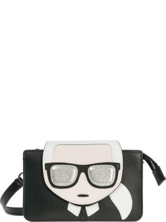 Karl Lagerfeld  Leather Clutch With Shoulder Strap Handbag Bag Purse K/ikonik