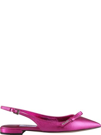 Prada Bow-embellished Slingback Ballerinas