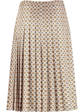 Tory Burch Carmine Printed Silk Pleated Skirt