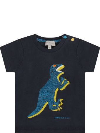 Paul Smith Junior Blue T-shirt With Colorful Dinosaur For Baby Boy