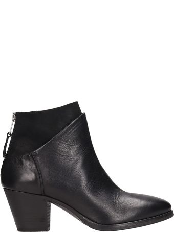 Elena Iachi Black Suede And Leather Ankle Boors