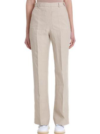 Acne Studios Pia Heavy Beige Cotton And Linen Trousers