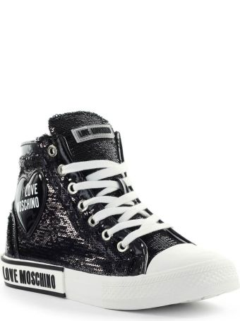 Love Moschino Black Sequins High Sneaker