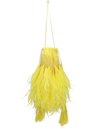 ATTICO Lemon Yellow Ostrich Feather Bag
