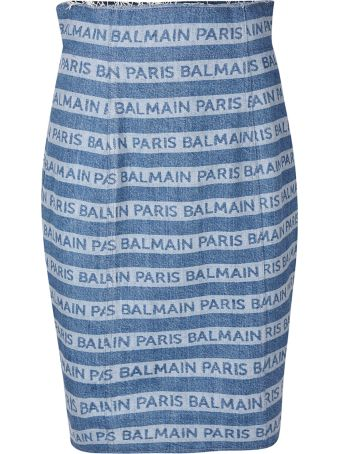 Balmain Logo Stripes Skirt