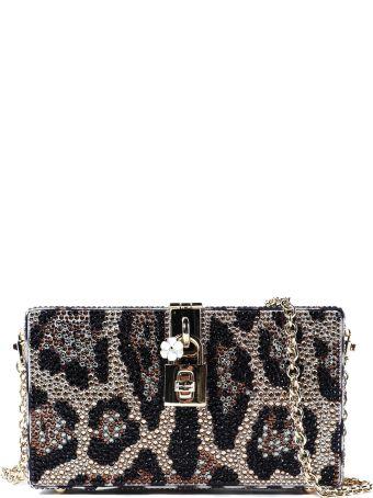 Dolce & Gabbana Leopard Print Embellished Shoulder Bag
