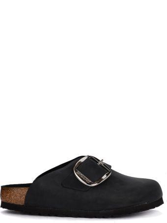 Birkenstock Basel Big Buckle Black Leather Sabot - Premium
